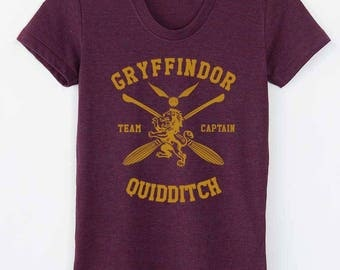 CAPTAIN - Tri-blend tee Gryffindor Quidditch team Captain YELLOW print on Tri-blend T-shirt Women tee American Apparel TR301 Cranberry