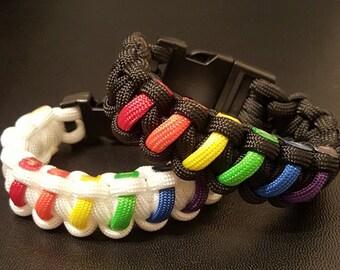 Gay Pride Rainbow Bracelet- Gay Pride Paracord Bracelet- Rainbow Bracelet- Pride Support Bracelet - LGBT Pride Bracelet