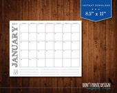 2017 Printable Wall Calendar - Simple Modern Rustic Font Monthly Calendar Family Planner - Instant Download
