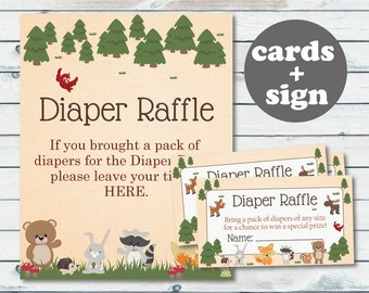 Woodland Diaper Raffle Ticket, Printable Diaper Insert Ticket, Woodland Baby Shower Printable Diaper Card, Woodland Baby Shower Games -WOD16