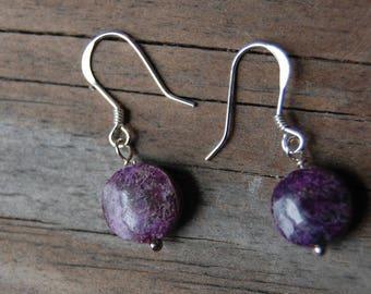 Sterling Silver Genuine Purple Fluorite Gemstone Drop Earrings