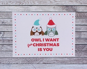 Owl Christmas Love Card (019)