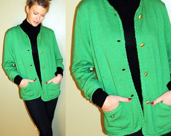 SALE 70s Vintage RAD Kelly Green Granny Cardigan
