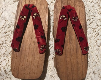 Vintage 60's  Japanese geta geisha wooden sandals