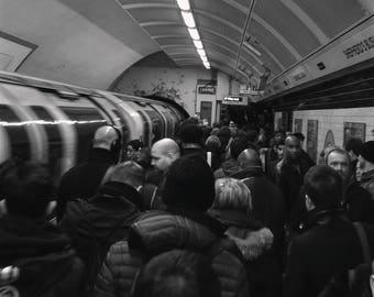 London Underground Print, Black And White, Street Photography, London Tube Map, London Print, City, Giclee Print, Photo Print, Unframed