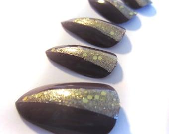Purple and Gold False Nails, Set of 20 Hand Painted Gloss Finish Fake Nails
