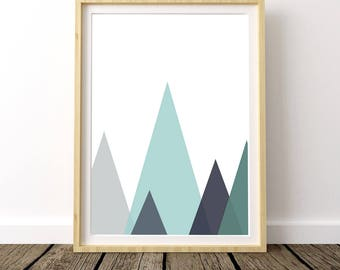 Mountains Geometric Print, Mint Mountains, Scandinavian Nursery, Mountain Nursery, Mountain Range, Geometric Mountain Range, Nursery Decor