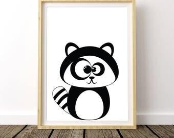 Raccoon Nursery Decor, Raccoon Print, Raccoon Poster, Baby Raccoon Print, Raccoon Wall Decor, Raccoon Art Print, Raccoon Printables,