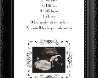 Ultrasound pregnancy poem wall art, gift for parents, new parents, A4 poster ideal nursery decor, home decor, new baby art by Itchy Avocado
