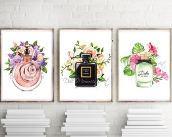 Perfume set 3, set 3 fashion, Chanel perfume, Coco Noir Chanel, Valentino perfume, Dolce Gabbana perfume, set 3 prints, watercolor set 3