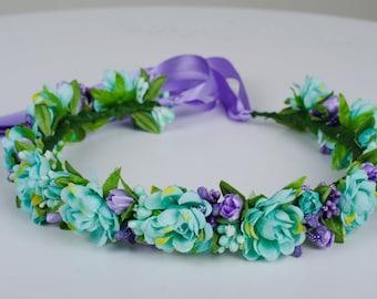 Mint Purple Flowergirl flower wreath Ukrainian Headband Vinok Made in Ukraine Mint wedding Flower girl floral crown Purple wedding crown