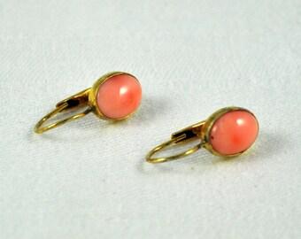 Angel skin coral gold filled pierced earrings