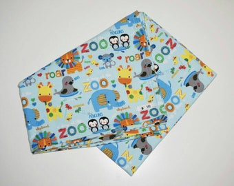 Flannel baby wrap/blanket - bright farm animal print