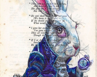 Alice in Wonderland, White Rabbit A4 print.  Biro Art Image.
