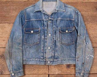 "Mens Levis True Vintage 'Type 2' Big E 507XX Denim Jacket. 1950's. Size Medium 38"". Worn, Patched Repaired. R5569"