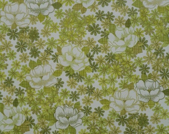 2 roles orig. 70s WALLPAPER green flowers and leaves