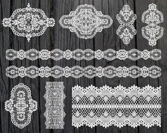 Digital lace clipart Lace clip art Lace Border Clipart Wedding Clipart White Lace Overlay Lace Instant Download Lace Embellishments