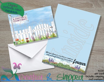 Garden with Pickett Fence Note Cards; Folded Card; Postcard; PDF; E-Card
