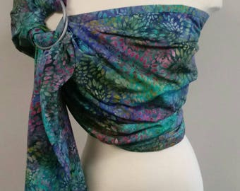 Ring Sling Tie Dye Purple Green Blue Wrap Carrier Baby Wearing Baby Carrier Baby Shower Gift Cotton Ring Sling