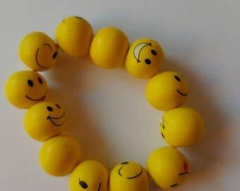 Yellow Stretch Emoji Children's Bracelet