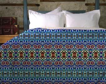 Wondali Boho Duvet Cover - Blue Bohemian Handwoven Queen, King, Twin Duvet Cover  | UBU Republic