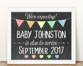 PRINTABLE Pregnancy Announcement, We're Expecting, Printable Pregnancy Sign, Chalkboard Photo Prop, Baby Announcement, Pregnancy Reveal