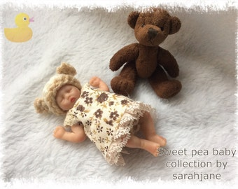 Ooak clay baby Ellie 4.5 inch hand sculpted by artist sarahjane