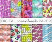 Tropical Bright Paint Print Digital Scrapbook Paper Watercolor Gold Glitter Abstract Pattern Hand Drawn Watermelon Orchid Floral Fan Arrow
