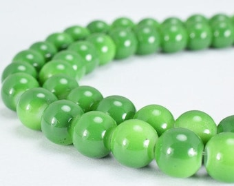 Olive Green Glass Beads Round 8mm Shine Round Beads For Jewelry Making Item #789222045623