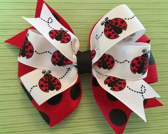Lady Bug Hair Bow Lady Bug Bow Black and Red Jumbo Dot Bow Polka Dot Lady Bug Bow Red Black and White Bow