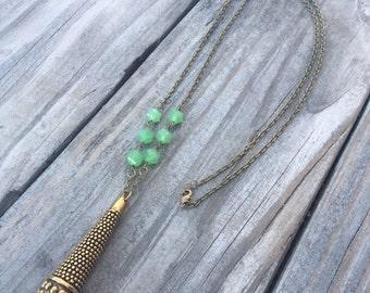 Brass Teardrop and Milkglass Necklace