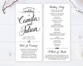 Cheap Wedding Programs Printed On White Premium Paper Calligraphy For Simple