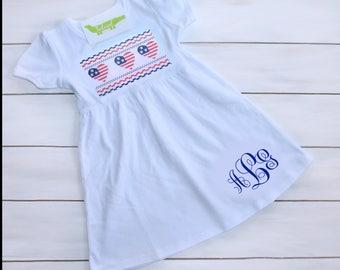 Flag Faux Smocked Dress - Patriotic Toddler Outfit - 4th of July Outfit - Toddler Patriotic Dress - Independence Day Dress - Memorial Day