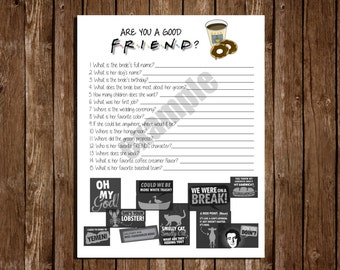 "Printable Bridal Shower Game/ ""Are you a good FRIEND?"""