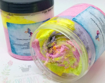 Unicorn whipped Soap ,Gift,  Sugar Scrub , Natural soap , reuseable plastic tub, Valentine, Birthday , Mothersday . Unicorn  SOAP