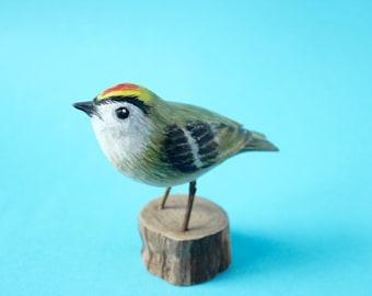 Goldcrest, Carved bird, Wood, Regulus regulus,