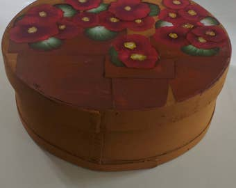 Geraniums - *Re purposed Hand Painted Cheese Box