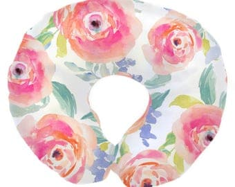 Bright Summer Watercolor Blooms  | Floral, Watercolor, Bright Flowers, Baby Girl Nursing Pillow Cover