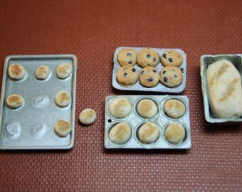 Dollhouse Miniature Set of Bread, Muffins & Buns in Baking Pans (1/12 Scale)