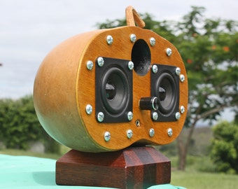 Portable Gourd Speaker Dock, Mp3 player for phone, Ipod, PC, Made from sustainable organic Gourds