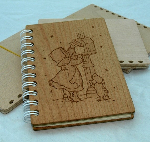 Wood Covered Book : Personalized wooden notebook А book