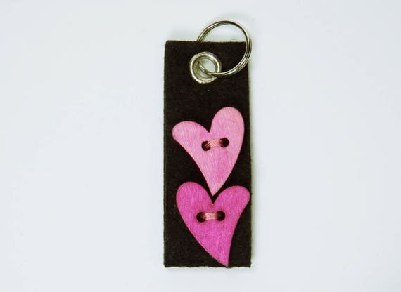 Key Ring Pink hearts black, pendant keyring keychain for the keychain Valentine love Heart