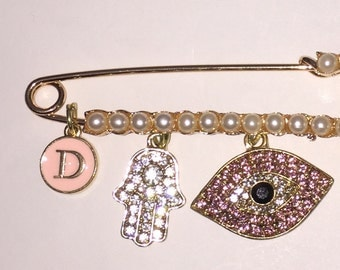 Custom stroller pin. Pearl stroller pin.  Pearl evil eye pin.  Evil eye pin.