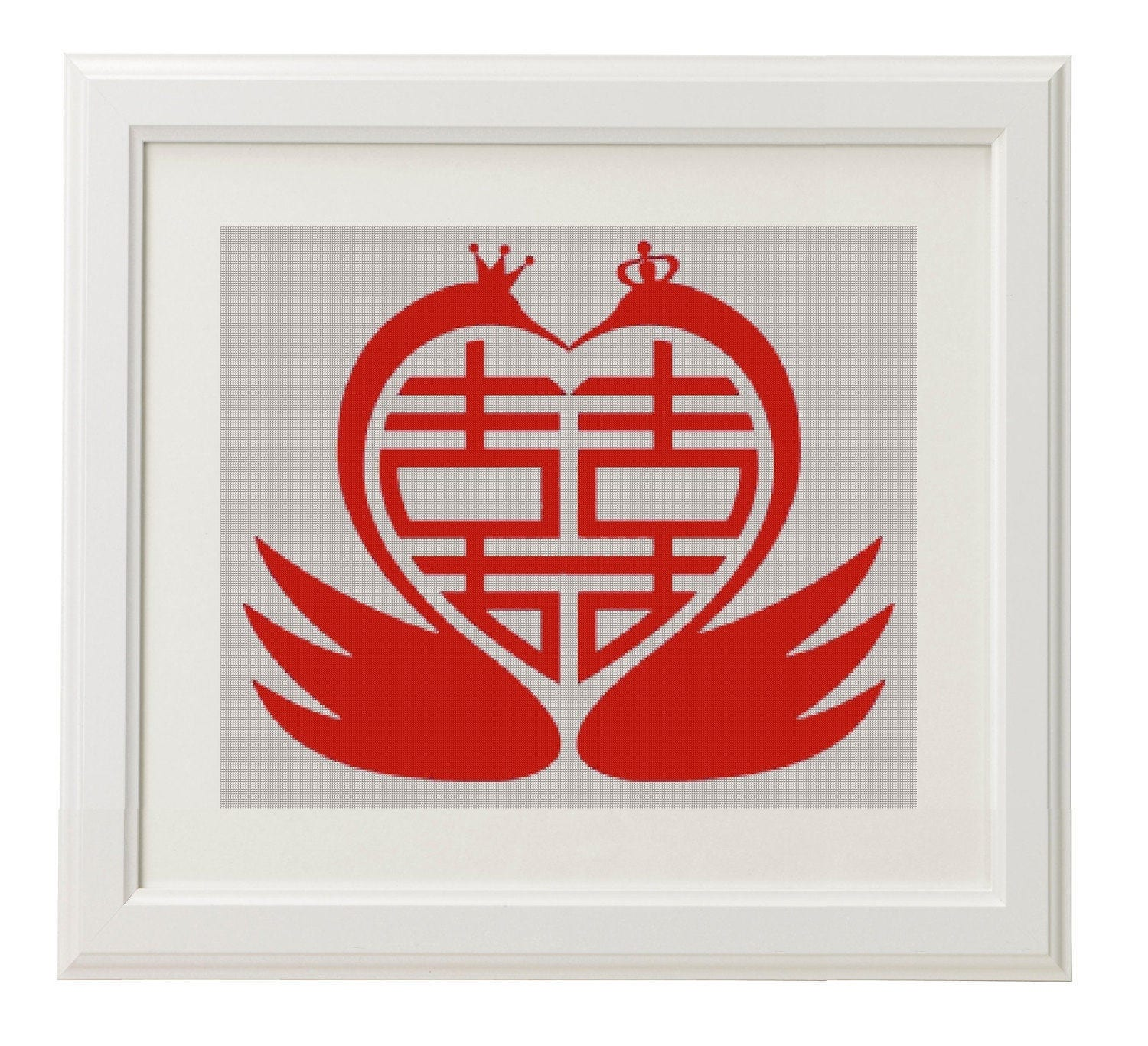 chinese symbol double happiness feng shui counted cross stitch pattern vintage swan cross. Black Bedroom Furniture Sets. Home Design Ideas