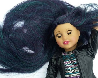CLEARANCE! OOAK Custom American Girl Doll Wig Oil Slick