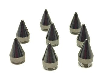 GUNMETAL Spikes 15mm / Studs and Spikes / Cone Spikes / Gunmetal Spikes / 15mm Spikes / Screw in Spikes / Cone Spike / SET of EIGHT