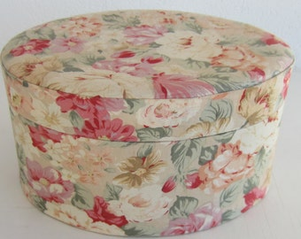 Vintage Fabric Covered Oval Box