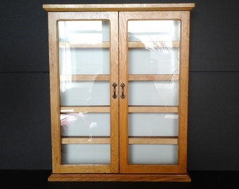 Glass Door Display Cabinet, Wall Hanging Plain Wood Cabinet, Oak 5 Shelf Cabinet