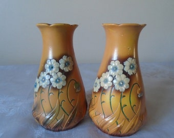 Pair art deco hand painted chalk ware vases