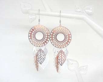 Earrings rose gold white silver stainless steel dream catcher feathers leaves trend wedding ceremony creation Odacassie pearls